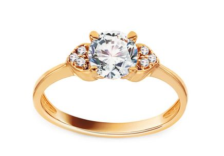 Gold Engagement Ring with Zircons Villetta