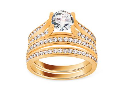 Sparkling Golden Engagement Set with Zircons