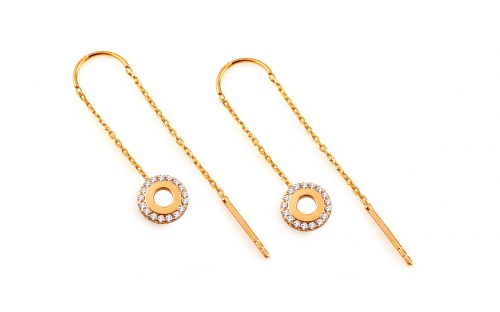 Gold chain earrings with circles - IZ14130
