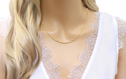 Gold chain Singapore 2 mm - IZ3672 - on a mannequin