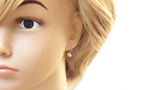 Gold children's earrings with a stone - IZ7370 - on a mannequin
