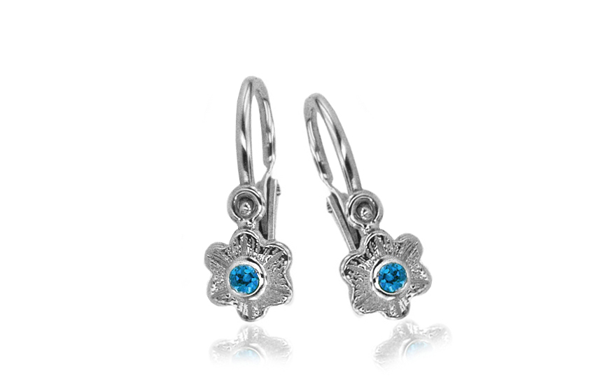 Gold Children's earrings with aquamarines - 1-336-0477A