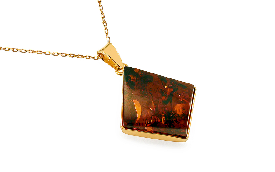 Gold Coated Silver Necklace with Amber - IS1988Y