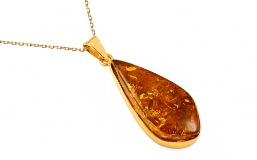 Gold Coated Silver Necklace with Amber - IS1997Y