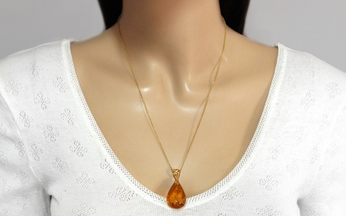 Gold Coated Silver Necklace with Amber Tear   - IS1981Y