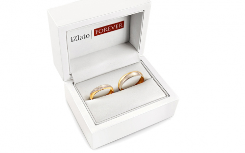 Gold combined wedding rings with zircons, width 4.5 mm - STOB308