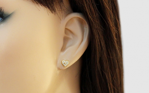 Gold Cubic Zirconia Heart Stud Earrings - IZ13582