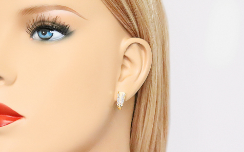 Gold Cubic Zirconia Latch Back Earrings - IZ10343