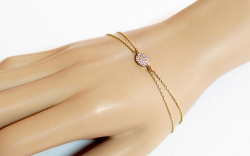 Gold double-row bracelet with zircons - IZ13832