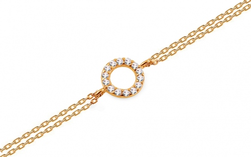 Gold double-row bracelet with zircons - IZ13837