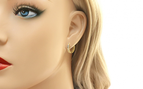 Gold Earrings Rings with Zircons - IZ13729 - on a mannequin