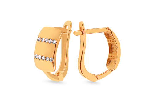 Gold earrings with cubic zirconia - IZ13990