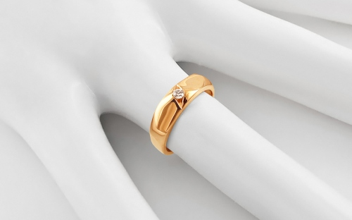 Gold Engagement Ring with Zircon - IZ13322 - on a mannequin
