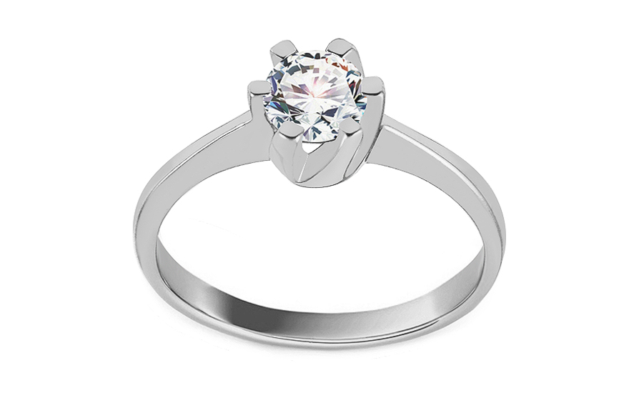 Gold Engagement Ring with Zircon Delilah white - IZ11301A