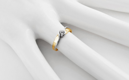 Gold Engagement Ring with Zircon Elise 6  - CS9RI1502