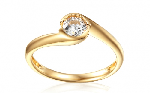 Gold Engagement Ring with Zircon Mariyah - IZZR001