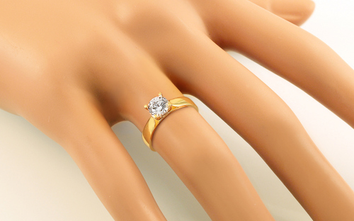 Gold Engagement Ring with Zircon Roux - IZ11278 - on a mannequin