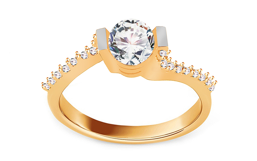 "Gold Engagement Ring with Zircons ""Isarel 16"" - CSRI798"