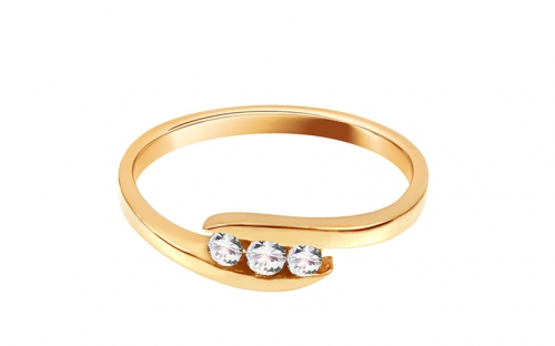 "Gold Engagement Ring with Zircons ""Pretty 7"" - CSRI1040Y"