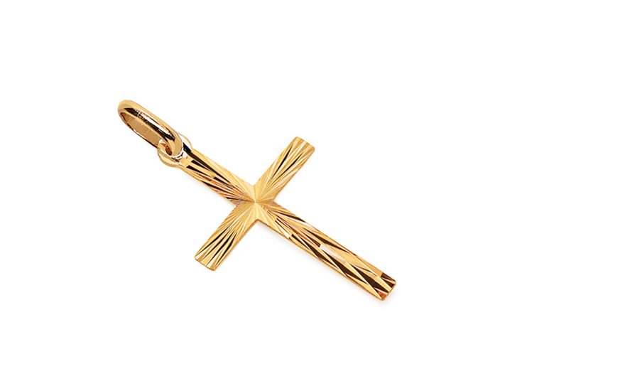 Gold Engraved Cross Pendant - IZ4786