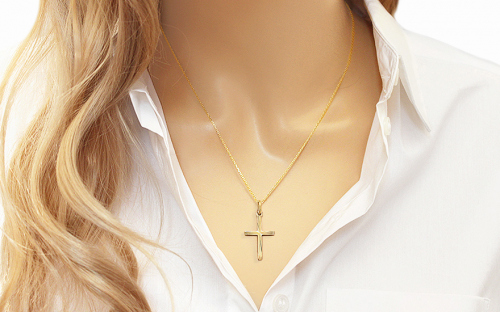 Gold Engraved Cross Pendant - IZ4786 - on a mannequin