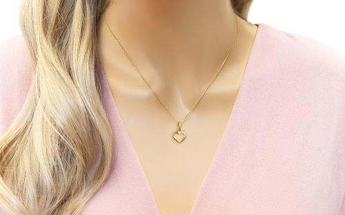 Gold Engraved Heart Pendant - IZ4738Y - on a mannequin