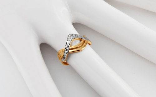 Gold Engraved Two Tone Ring - IZ10736