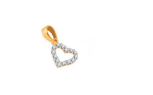 Gold Heart with Zircons - IZ11032