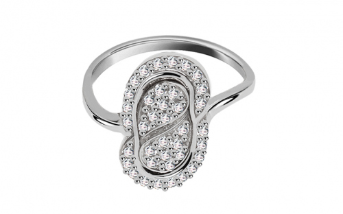 Gold ladies ring with cubic zirconia - IZ782