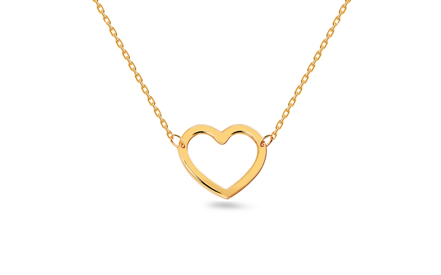 Gold necklace with heart - IZ9993