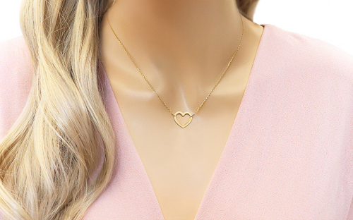 Gold necklace with heart - IZ9993 - on a mannequin