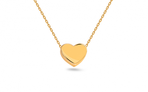 Gold necklace with heart plate - IZ14515