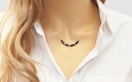 Gold necklace with pendants and black zircons - IZ15622