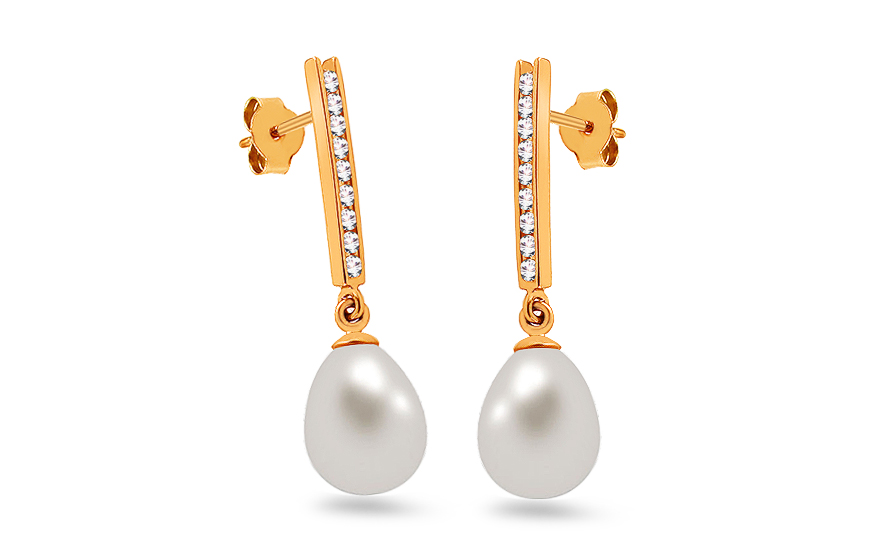 Gold pearl earrings with zircons - PE212