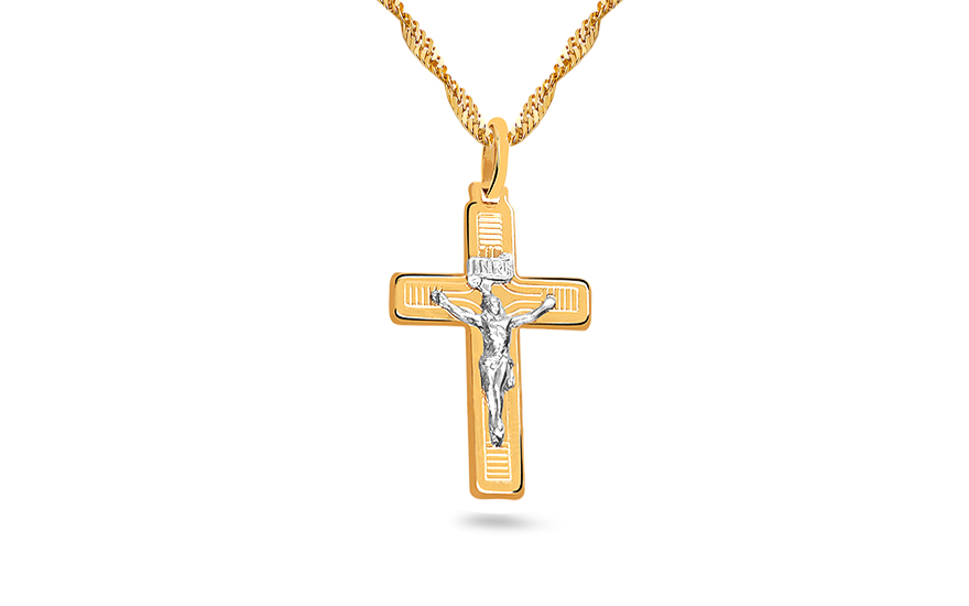 Gold Pendant Christian Cross with Embossed Passion - IZ4607