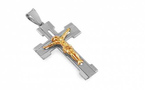 Gold Pendant Christian Cross with Embossed Passion - IZ9PA017