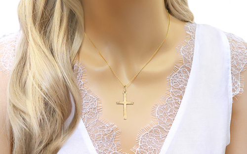 Gold Pendant Cross Engraved - IZ7602Y - on a mannequin