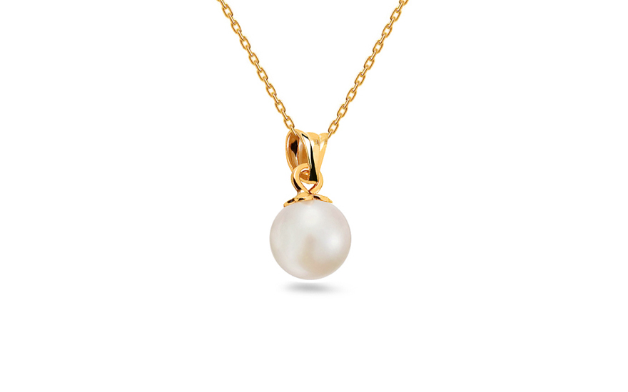 Gold Pendant with White Pearl - IZ12770