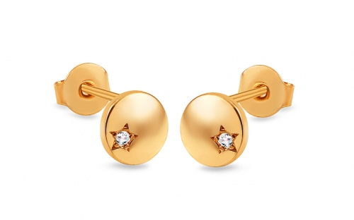 Gold round stud earrings with zircons - IZ13942