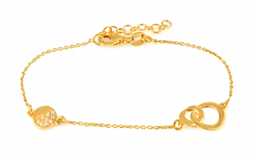 Gold plated 925 sterling silver bracelet with circles - IS1244N