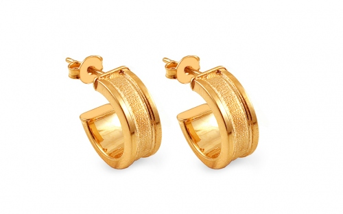 Gold plated matt hoop earrings 1.4 cm - IS2363Y