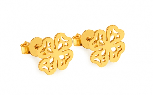Gold-plated silver four-leaf clover stud earrings - IS1682Y