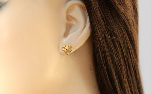 Gold plated silver heart stud earrings - IS1681Y
