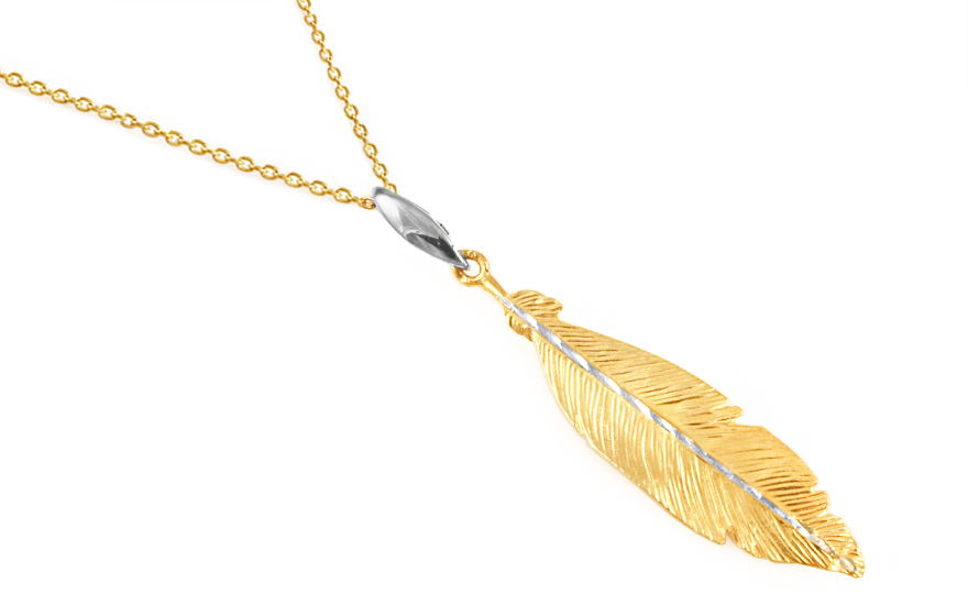 Gold-plated Sterling silver necklace with a feather - IS1244