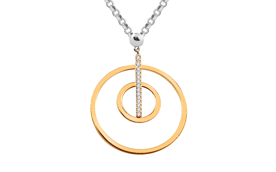 Gold plated Sterling Silver Necklace with cubic zirconia - IS2217