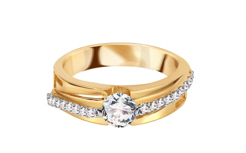 Gold ring with cubic zirconia - CSRI1263