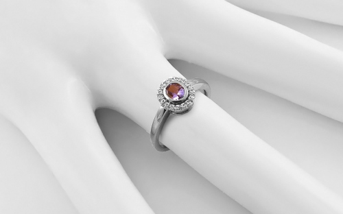 Gold Ring with Diamonds 0,090 ct Flame of Love White - KU191A
