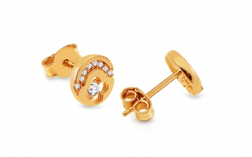 Gold Stud Earrings with Zircons - IZ13468