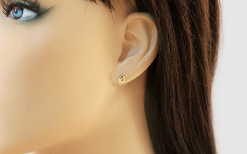 Gold Stud Earrings with Zircons - IZ13965