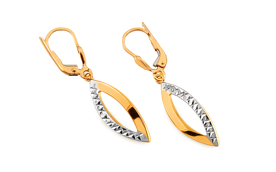Gold two-color dangling earrings with pore - IZ11117